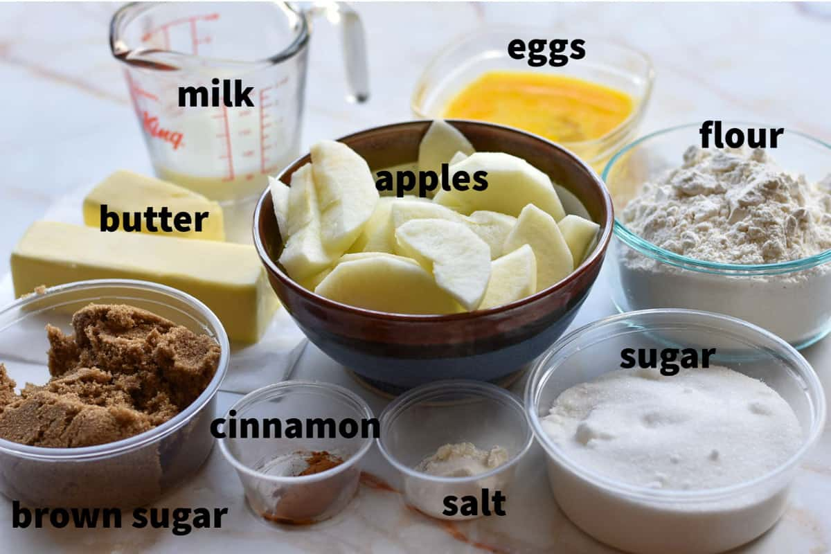 image of all ingredients for the apple cinnamon upside down cake