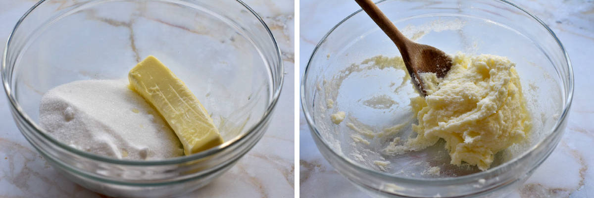 collage of two photos showing butter and sugar creamed together