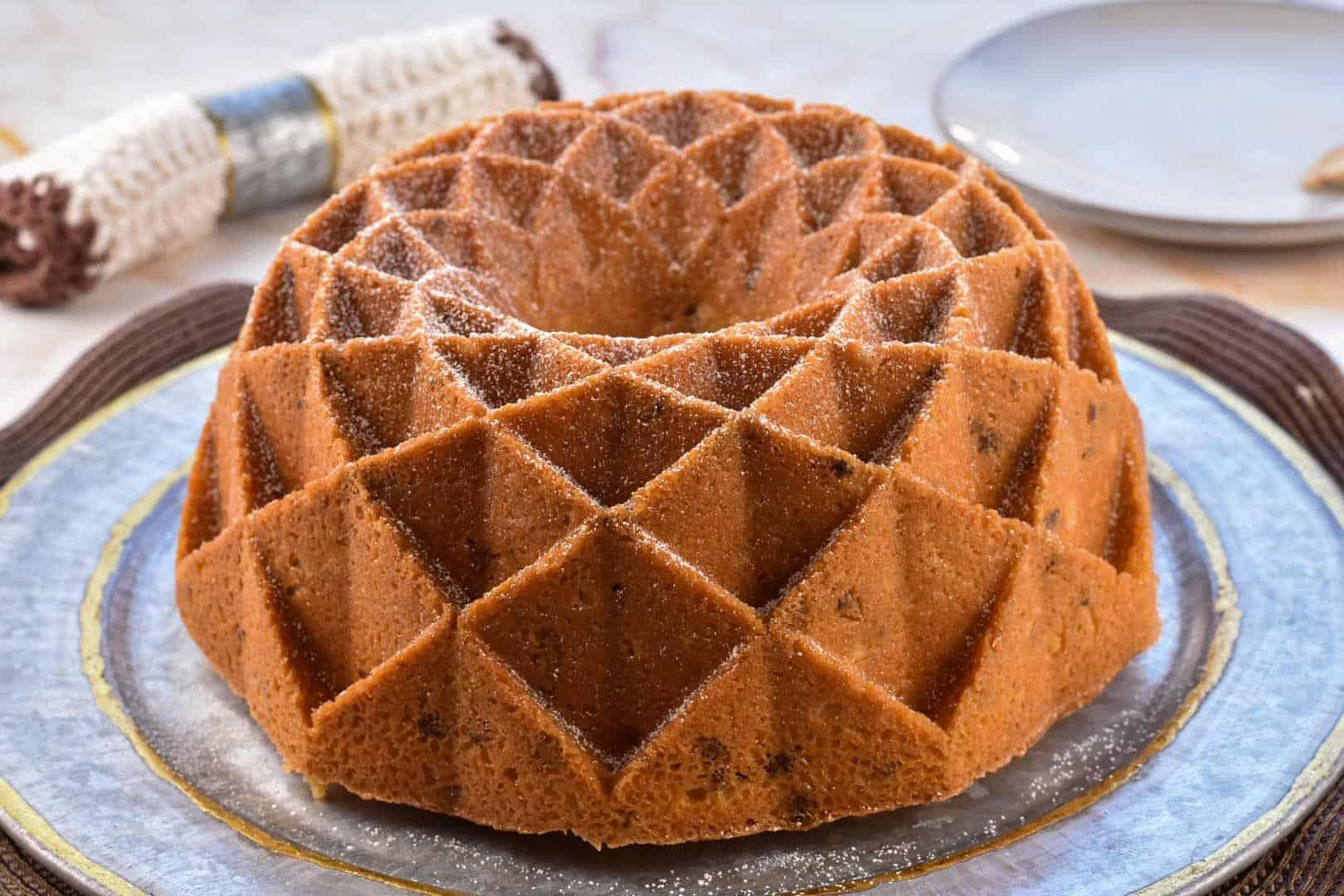 image of black walnut pound cake on a platter