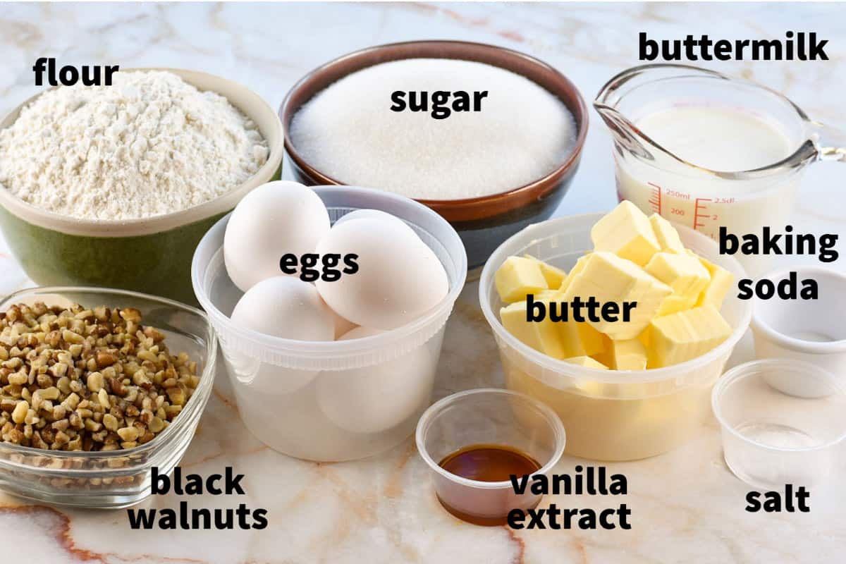 image with all ingredients measured out for the cake
