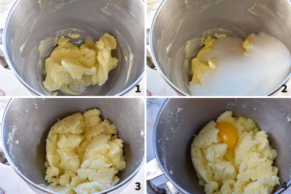 collage of 4 photos showing creaming butter and sugar and adding eggs
