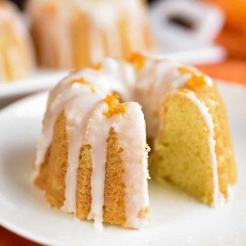mini bund cake on a plate