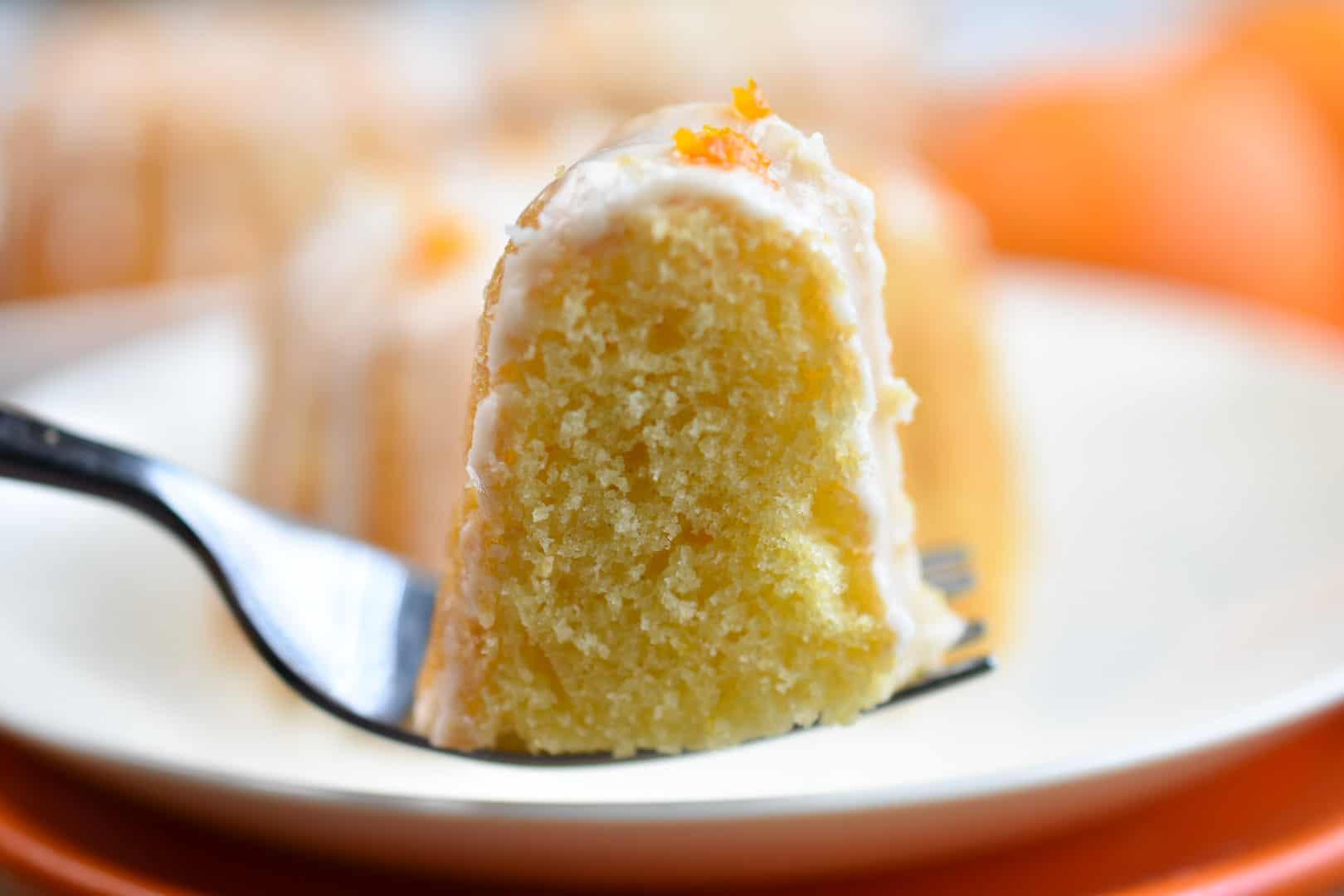 slice of cake on a fork
