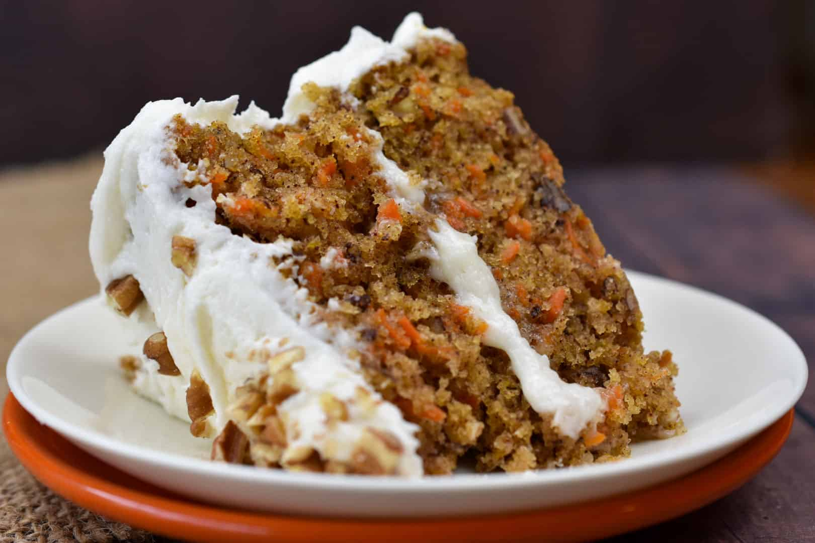 closeup of pecan carrot cake on a plate