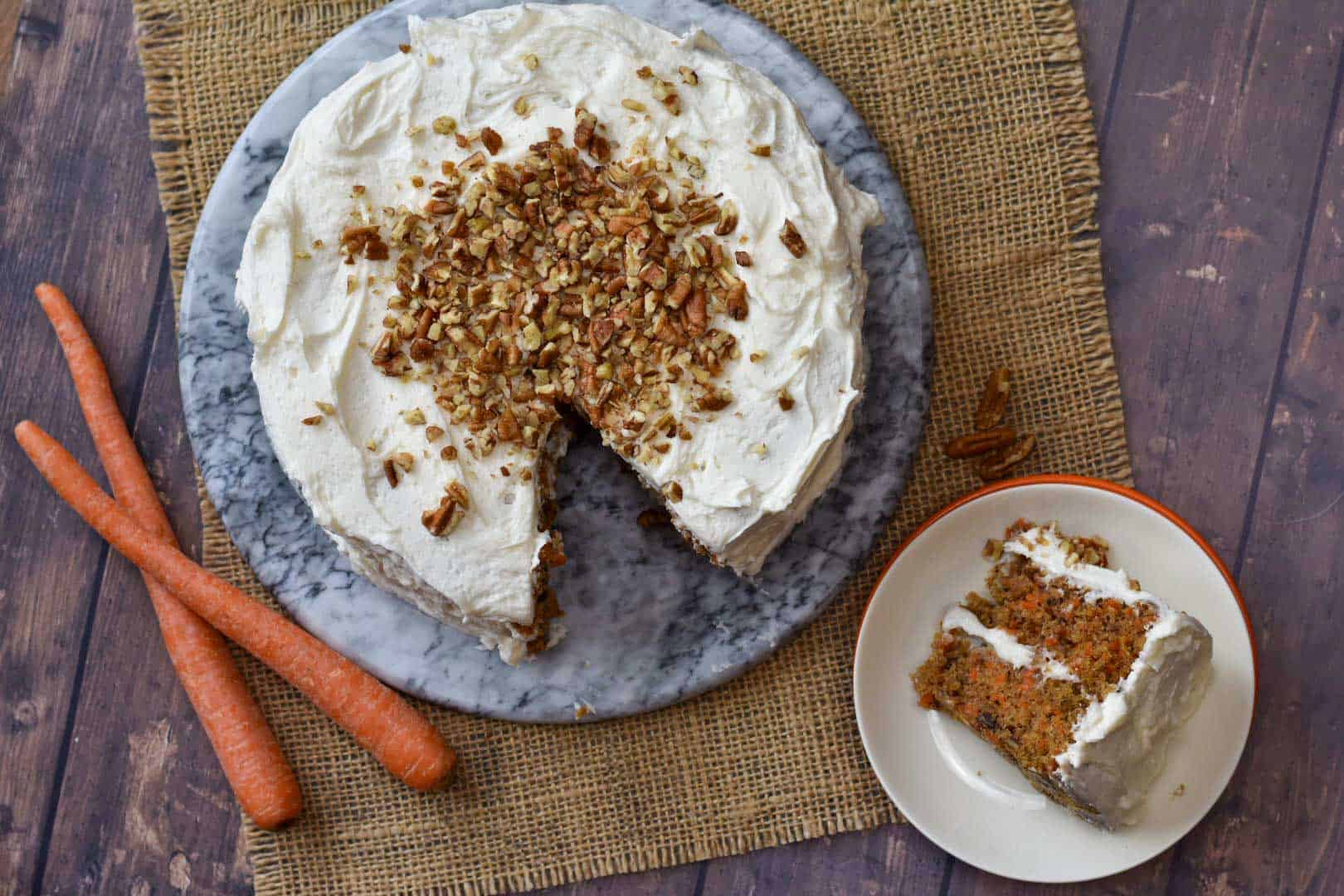 overhead shot of pecan carrot cake