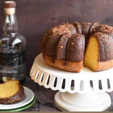 closeup image of pecan rum cake