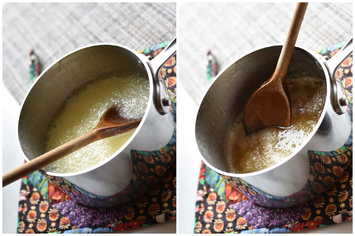 collage of two photos showing mixing butter and sugar in pan