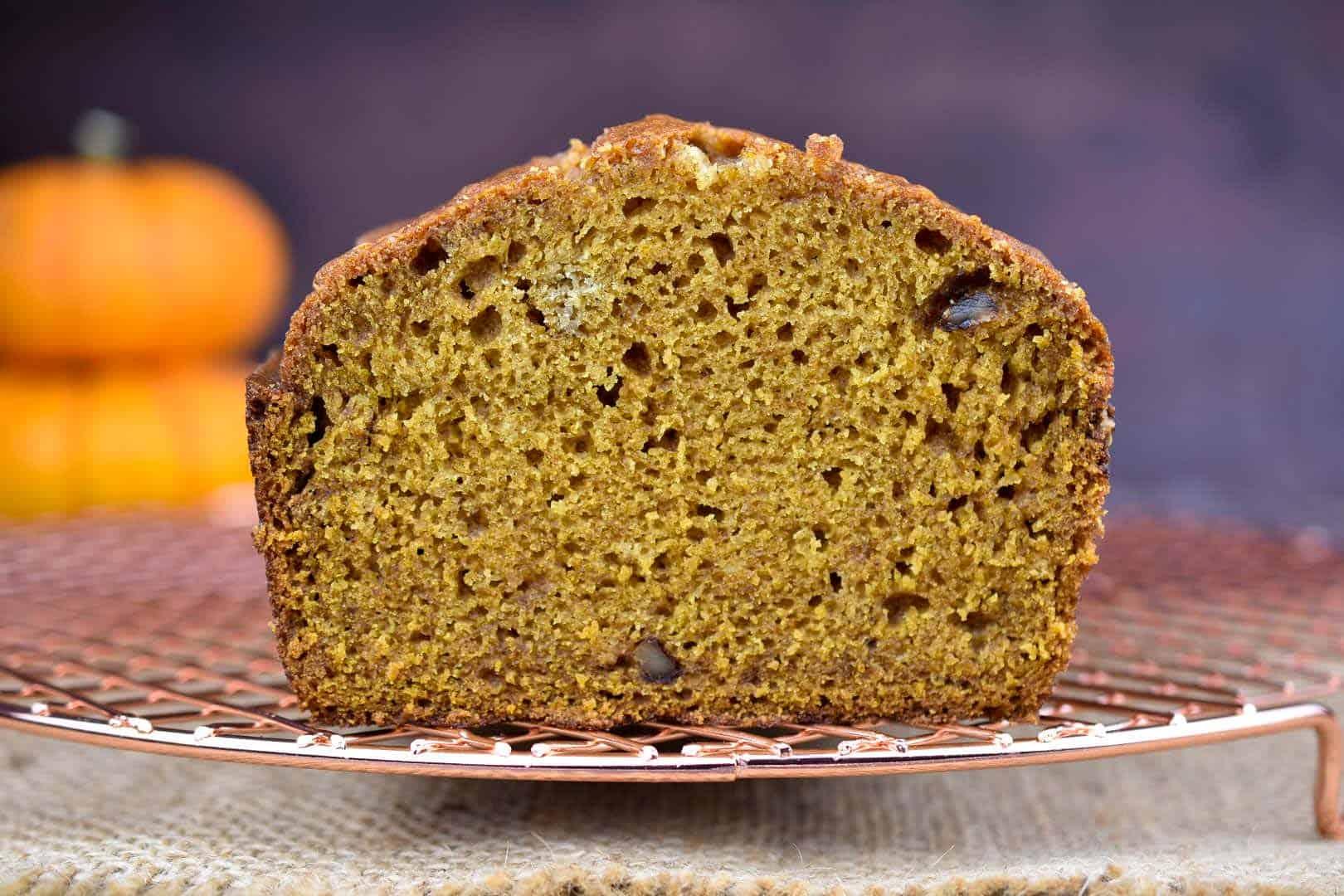 side view closeup of pumpkin walnut bread