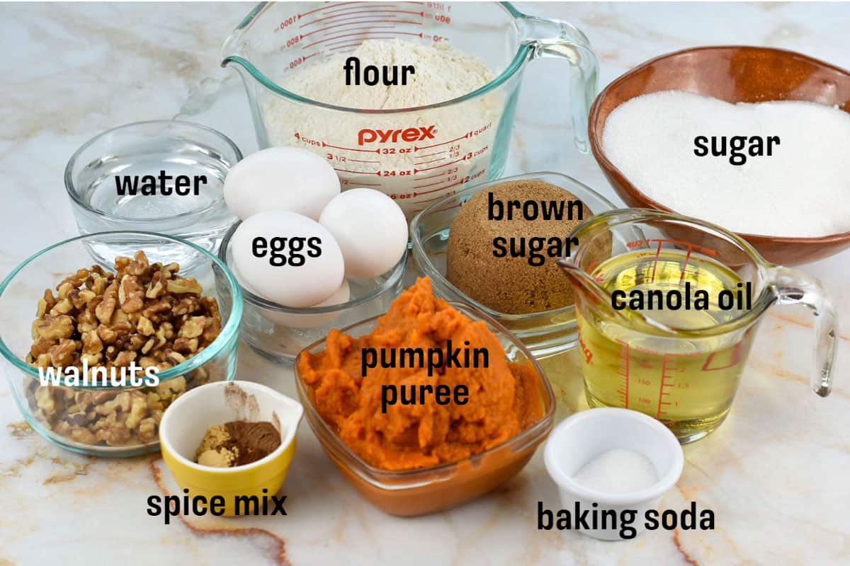 ingredients for bread on counter