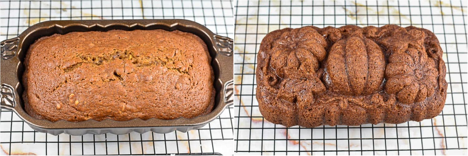 collage of two images showing bread cooling