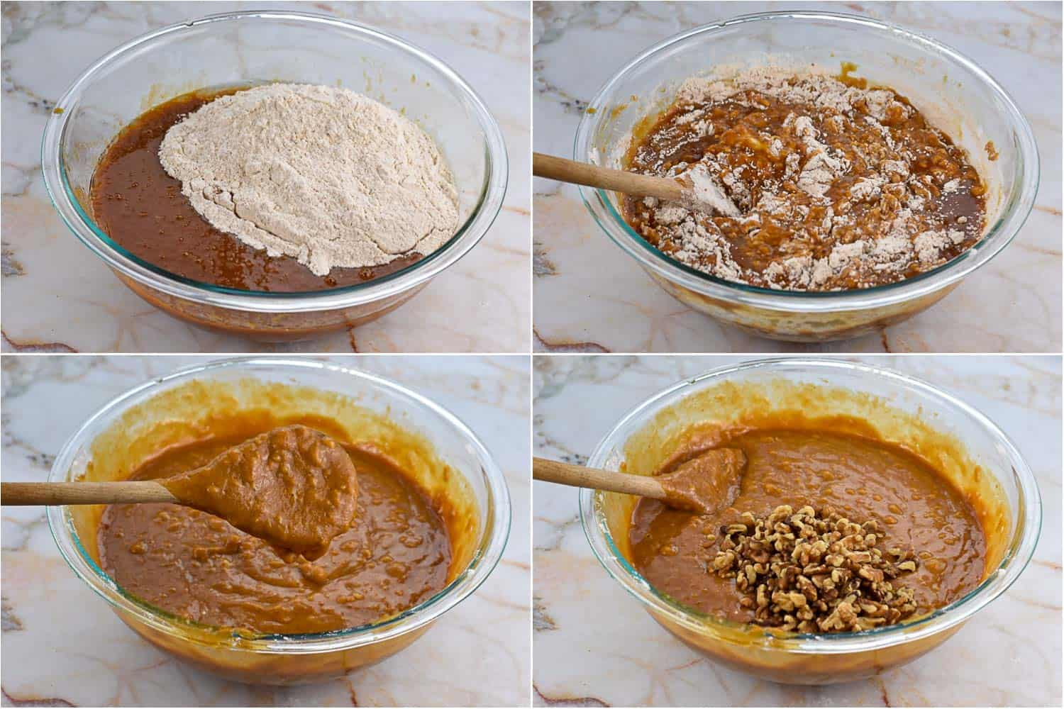 collage for four images showing wet and dry ingredients being mixed together