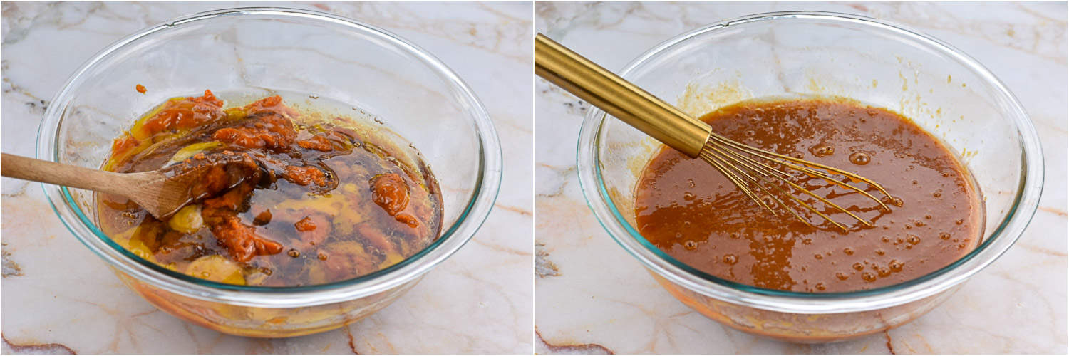 collage of two images showing wet ingredients mixed together